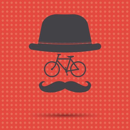 Hipster bicycle illustration on a red background Ilustração