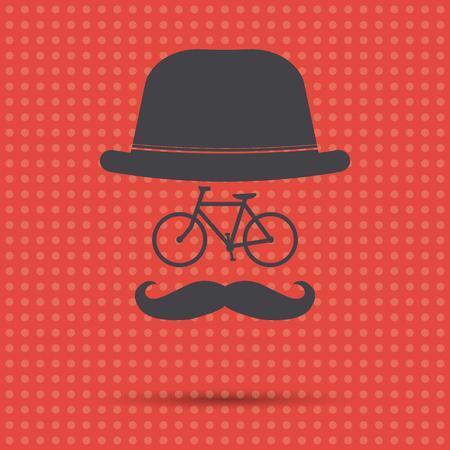 Ilustración de bicicleta Hipster sobre un fondo rojo