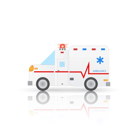 emt: Illustration of an ambulance isolated on a white background.