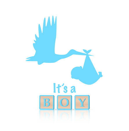 Illustration of baby boy and stork isolated on a white background. Illustration
