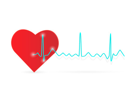 Illustration of a heart and ECG wave isolated on a white background.