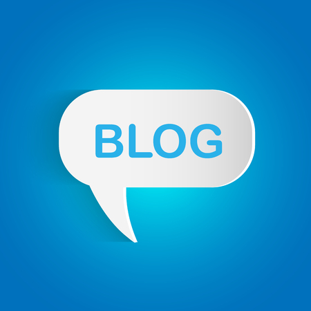 Illustration of a Blog chat bubble on a colorful blue background.