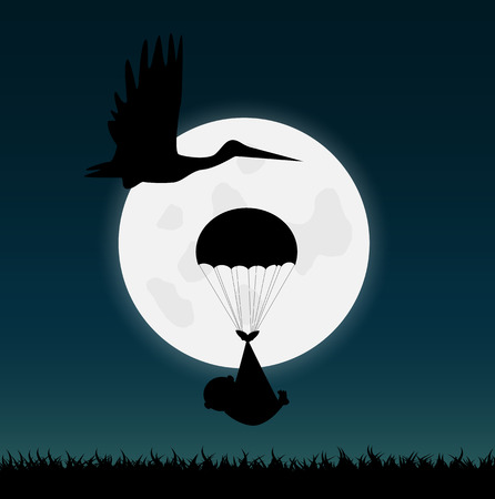 Illustration of a stork and a baby silhouette against a night sky.