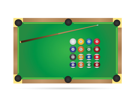 Illustration of a pool table isolated on a white background. Illusztráció