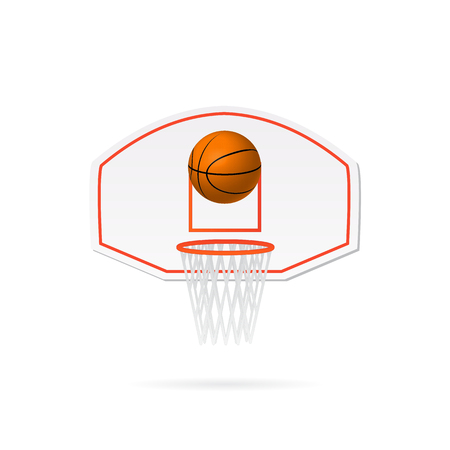 Illustration of a basketball hoop, basketball and backboard isolated on a white background. Illustration