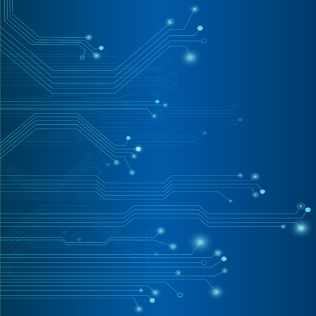 Illustration of a colorful blue circuit board background.