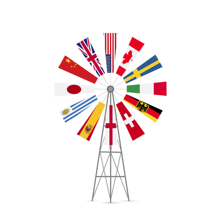 Illustration of a vintage windmill with flags from various countries.