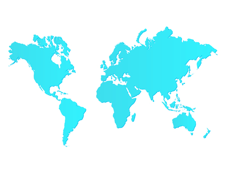 Illustration of a colorful blue world map isolated on a white background.