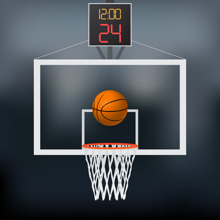 Illustration of a basketball hoop, basketball and backboard isolated on a white background. Stock Illustratie