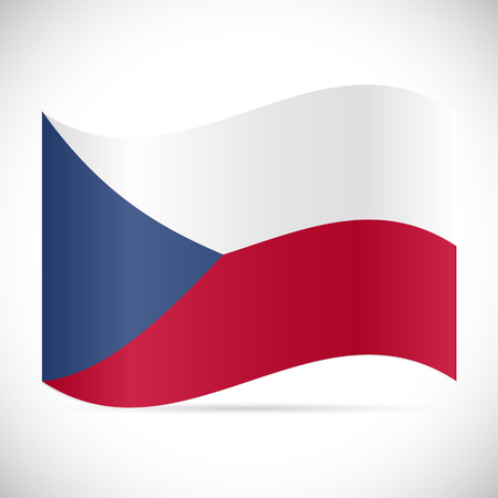 Illustration of the flag of Czech Republic isolated on a white background.