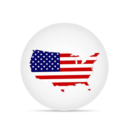Illustration of the flag of the United States of America on a button. Illustration