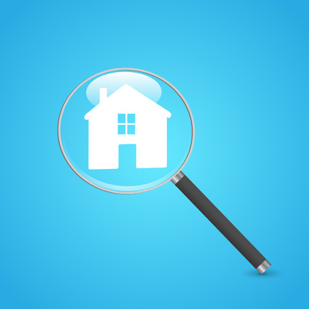 Illustration of a magnifying glass and house icon on a colorful blue background. Illustration
