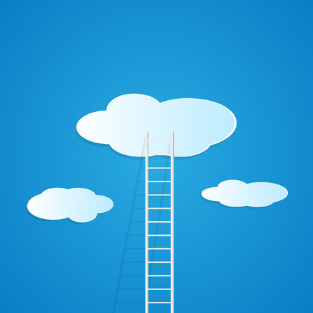 Illustration of a ladder reaching up to the clouds against a colorful blue background.