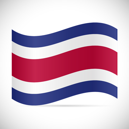 Illustration of the flag of Costa Rica isolated on a white background. 向量圖像