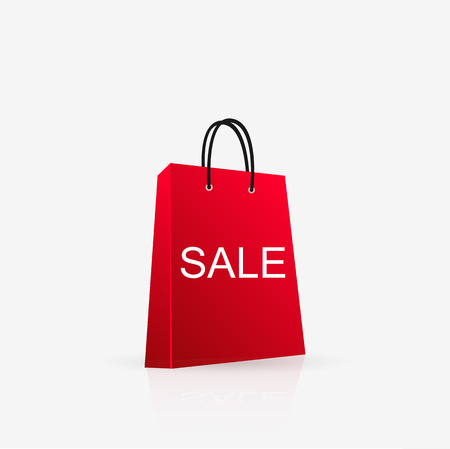 Illustration of a sale shopping bag isolated on a white background.