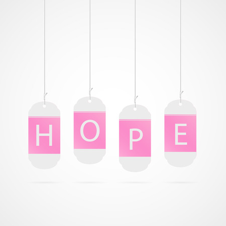 Illustration of pink tags for breast cancer awareness.