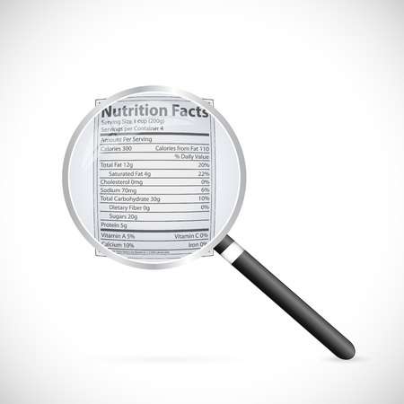 Illustration of a magnifying glass focusing on a nutritional label.