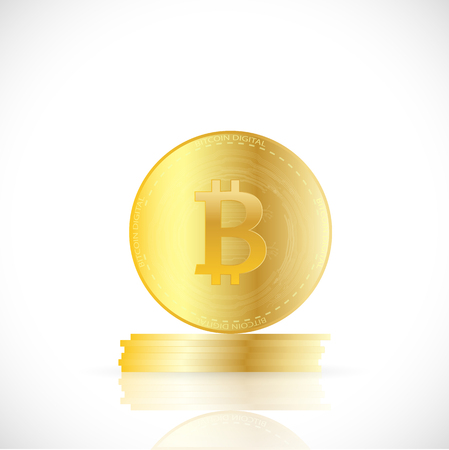 Illustration of bitcoins isolated on a white background.