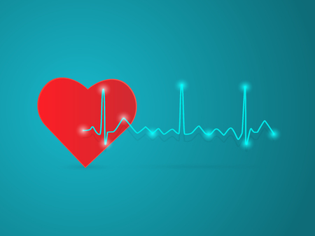 Illustration of a heart and ECG wave isolated on a blue background.