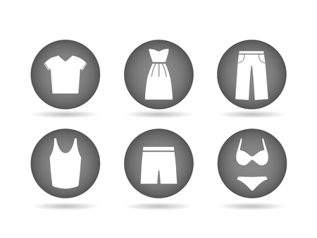 Illustration of clothing icon buttons isolated on a white background. Illustration