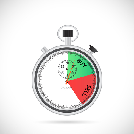 Illustration of a stopwatch with the words Buy and Sell isolated on a white background.
