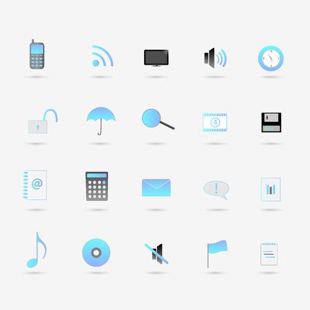 Illustration of various blue web icons isolated on a white background. Illustration