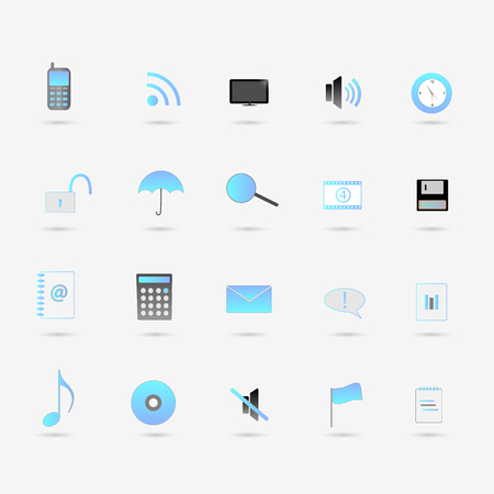 Illustration of various blue web icons isolated on a white background. Stock Illustratie