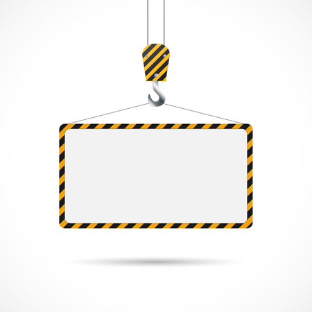 Illustration of a construction road sign and hook isolated on a white background.