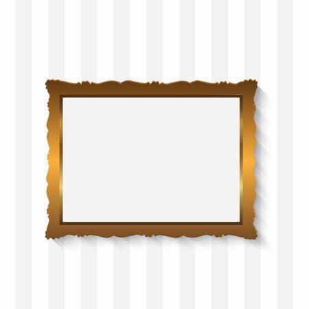 Illustration of a picture frame on a stripedl background. Illustration
