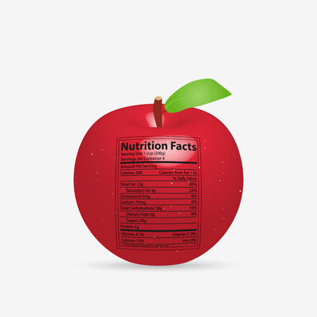 Illustration of an apple with nutritional information label isolated on a white background.