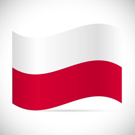 Illustration of the flag of Poland isolated on a white background. 向量圖像