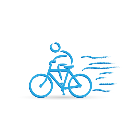 Illustration of a bicycle and rider design isolated on a white background. Stock Illustratie