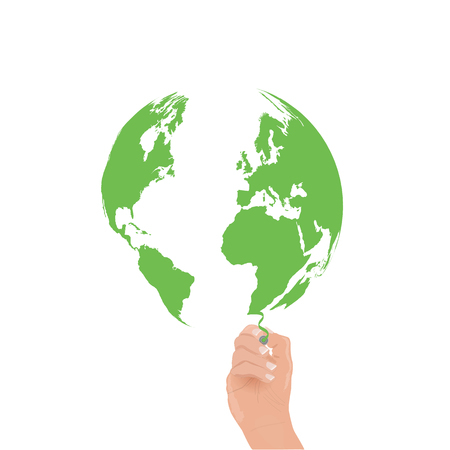 Image of a hand drawing a green world map.