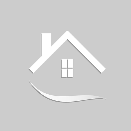 Concept image of an abstract house design isolated on a gray background.