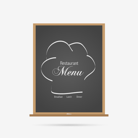 Illustration of a chalboard menu for a restaurant isolated on a white background. Stock Illustratie