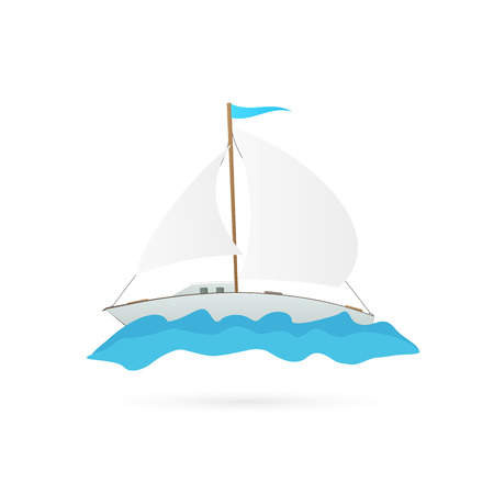 Illustration of a sailboat isolated on a white background.