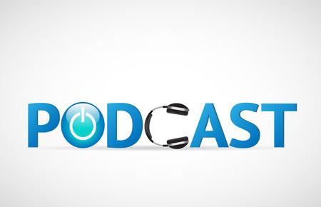 illustration du mot podcast avec un casque isolé sur un fond blanc