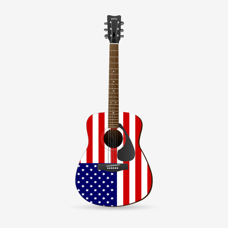Illustration of a red, white and blue guitar isolated on a white background. Иллюстрация