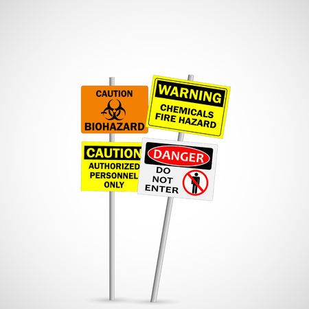 Illustration of warning and caution signs isolated on a white background. Stock Illustratie