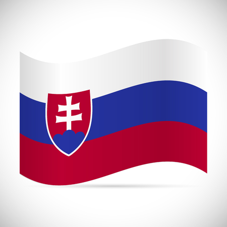Illustration of the flag of Slovakia isolated on a white background. 向量圖像