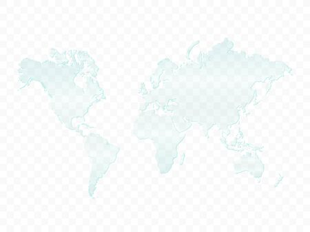 Illustration of a glass world map isolated on a checkered background.