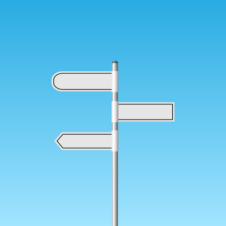 Illustration of a blank white signpost against a blue sky background.