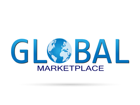 Illustration of a Global Marketplace design isolated on a white background.
