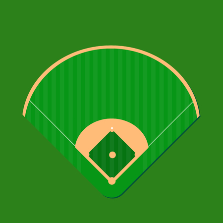 Illustration of a baseball field design isolated on a green background.