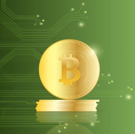 Illustration of bitcoins on a circuit board background. Illustration