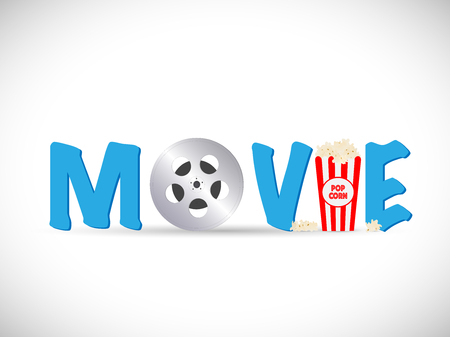 Illustration of a movie text image isolated on a white background. Illustration