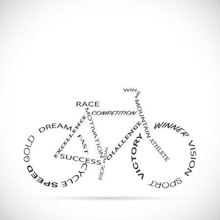 Illustration of a bicycle with motivational words isolated on a white background.