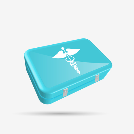 First Aid Kit isolated on a white background. Stock Illustratie