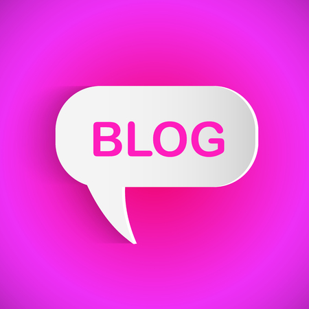 Illustration of a Blog chat bubble on a colorful background.