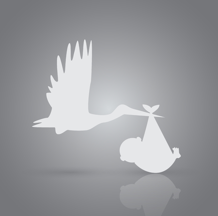 Illustration of a stork and baby on a colorful background. Stock Illustratie